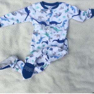 3/$15 dinosaur fleece footie pajamas